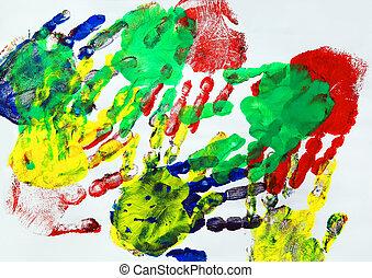 caractères, gosses, peinture, coloré, main