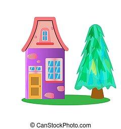 caractères, illustration, fée-conte, fantasme, maison, style, dessins animés, vecteur