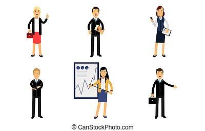 caractères, illustration, femmes affaires, blanc, vecteur, réussi, isolé, quotidiennement, fond, hommes affaires, travail, ensemble