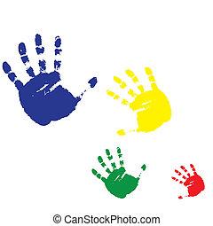 caractères, illustration, quatre, vecteur, humain, hands.