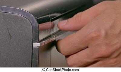 caractères, imprimante, examine, tablette, bureau, documents, homme affaires, homme
