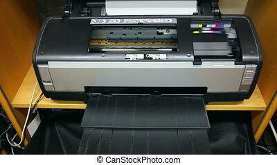 caractères, imprimante, jet encre, colorez photo, timelapse, -