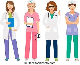 caractères, infirmière, jeune, docteur féminin
