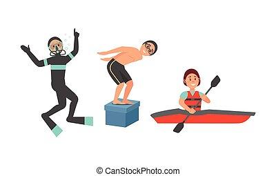caractères, kayaking, illustration, plongée sous-marine, ...