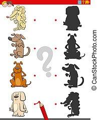 caractères, ombre, jeu, chiens