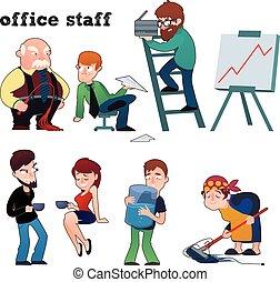 caractères, personnel, bureau, ensemble, rigolote, typique