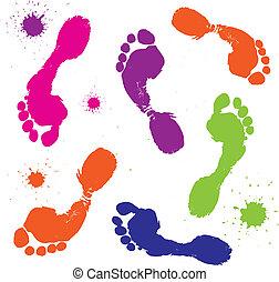 caractères pied, blanc, isolé