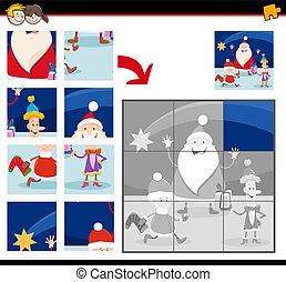 caractères, puzzles, dessin animé, noël, puzzle