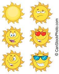 caractères, soleil, dessin animé, collection