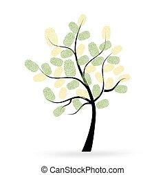 caractères, vecteur, arbre, doigt