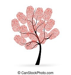 caractères, vecteur, arbre, doigt, rouges