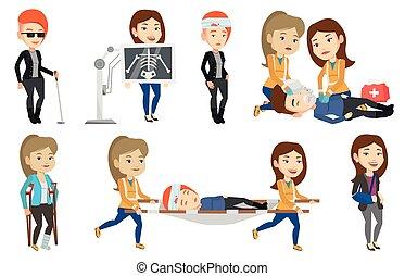 caractères, vecteur, ensemble, docteur, patients.