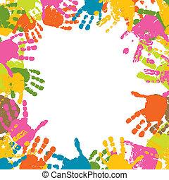 caractères, vecteur, résumé, fond, mains, enfant