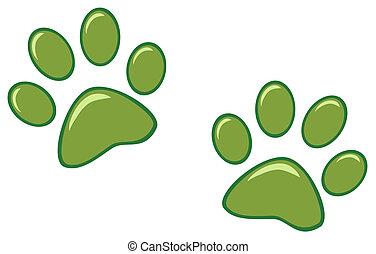 caractères, vert, patte
