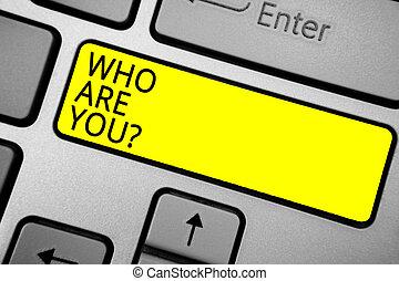 caractéristiques, concept, description, couleur, texte, bouton, question., jaune, vous-même, personnel, signification, informatique, identifier, ashy, clavier, noir, vous, écriture, écriture, texts.