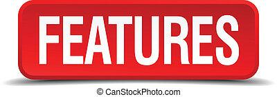 caractéristiques, rouges, 3d, carrée, bouton, isolé, blanc, fond