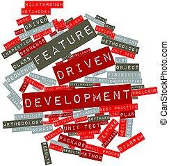 característica, dirigido, desenvolvimento