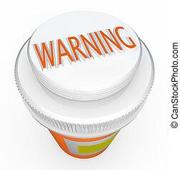 características, aviso, cautela, crianças, perigos, pílulas...