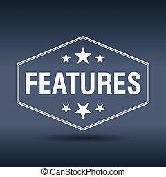 características, hexagonal, blanco, vendimia, estilo retro, etiqueta