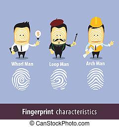 características, impressão digital, homem