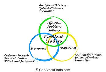 características, líderes, excelente