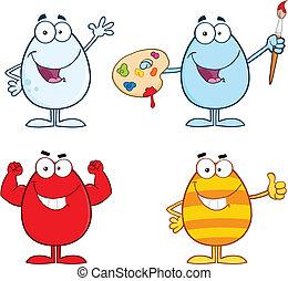 caracteres, conjunto, huevo, 4, colección