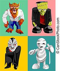 caracteres, horror, cuatro, clásico
