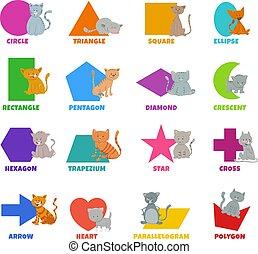 caracteres, lindo, formas, gatos, conjunto, geométrico