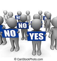 caracteres, no, confusión, exposición, indecisión, tenencia, señales, sí, o