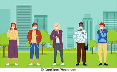 caracteres, pandemia, mascarillas, parque de la ciudad, ...