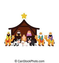 caracteres, pesebre, todos, navidad