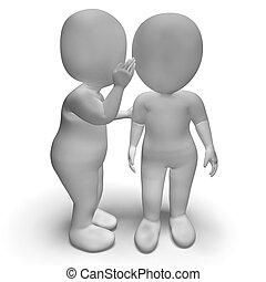 caracteres, secretos, tener, cuchicheo, chisme,  blab,  3D