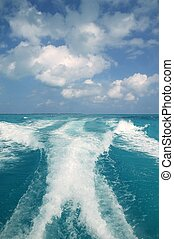 caraibico, blu, mare turchese, acqua, barca, bianco, scia