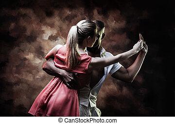 caraibico, coppia, giovane, balli, sexy, salsa