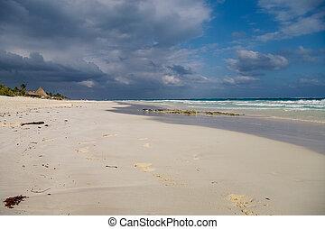 caraibico, riviera, mexico., mare, costa, sabbia, onde, maya, spiaggia bianca
