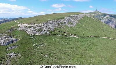 Caraiman Peak, aerial view of hikers, Romania