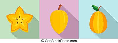 Carambola icons set, flat style
