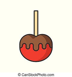caramel apple, sweets and pastry set, filled outline icon