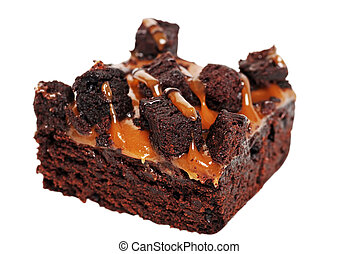 caramel brownie isolated on white background