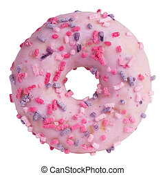 Caramel donut wild berry with sprinkles isolated on white