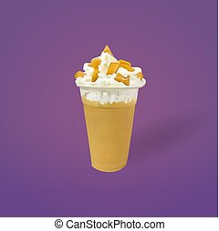 Caramel Frozen Milk with Whipped Cream, vector, illustration
