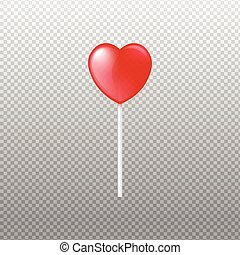 Caramel lollipop in heart shape on stick realistic vector illustration isolated.