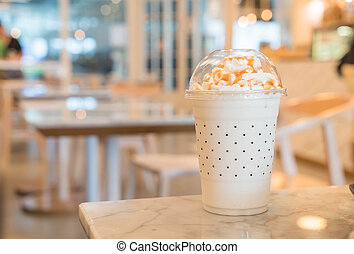 caramel milkshake on the table