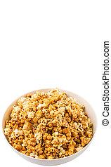 Caramel Popcorn In White Bowl