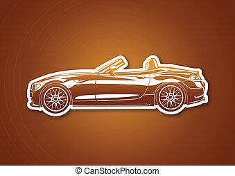 Caramel sport car over paper