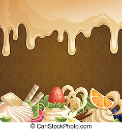 Sweets dessert background with caramel syrup white chocolate and decoration vector illustration