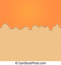 Caramel vanilla Melted on Wafer Background.  Illustration
