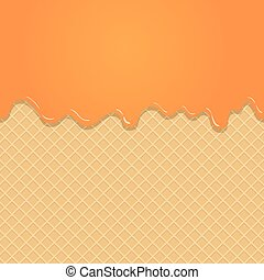 Caramel vanilla Melted on Wafer Background. Vector...