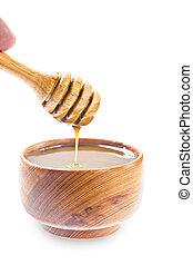 caramel, verser, sauce., miel, exclusivité