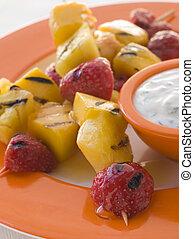Caramelised Fruit Brochette with Honey Creme Fraiche